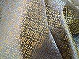 Tissu jacquard gris or brocart jacquard art tissu indien banarsi