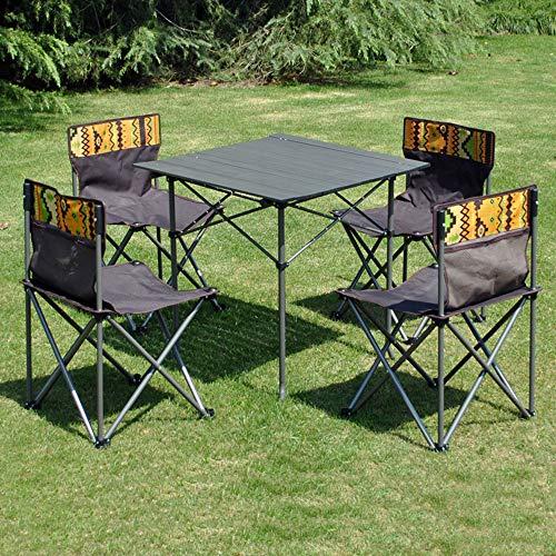 DYFAR Faltender kampierender Möbel-Satz im Freien, Faltbarer Tisch mit 4 Stühlen stellte schwarzes Garten-Möbel-Satz EIN das im Freien speist, säubert Möbel für Ferien-Picknick BBQ, Black - Stoff Stahl Bar Hocker