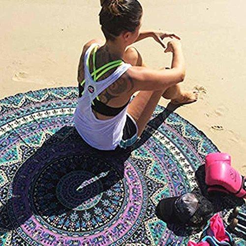 Toalla enorme de playa impresa PePeng, de gasa, 148,8 cm, extra grande, redonda, diseño indio de mandala de estilo bohemio, para verano, viajes, vacaciones (azul sombreado).