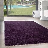 Unbekannt Shaggy Hochflor Langflor Teppich Wohnzimmer Carpet Uni Farben, Rechteck, Rund, Farbe:Lila, Größe:160x230 cm