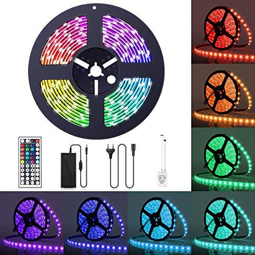 GLIME LED Streifen 5M LED Strip Lichtband RGB 5050SMD 300 LEDs Lichtleiste Led Stripes Verstellbare Helligkeit Wasserdicht IP65 LED Bänder mit 44 Tasten IR-Fernbedienung für Party Küche Haus Bett Deko