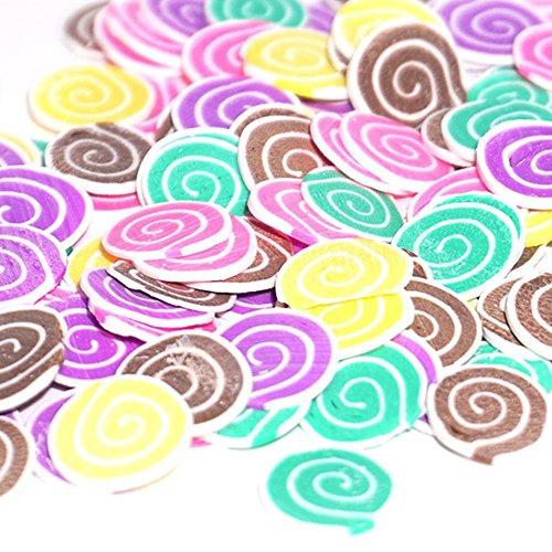 TianranRT Schleim Spielzeug In Scheiben geschnitten Ei 50PCS Bunt DIY 3D FIMO Slice Gesicht Dekoration für Selbstgemacht Schleim Machen Handwerk (C) -