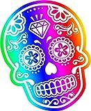 Multi coloured Novelty mexicana para el día de los muertos azúcar calavera vinilo adhesivo coche 110x 85mm