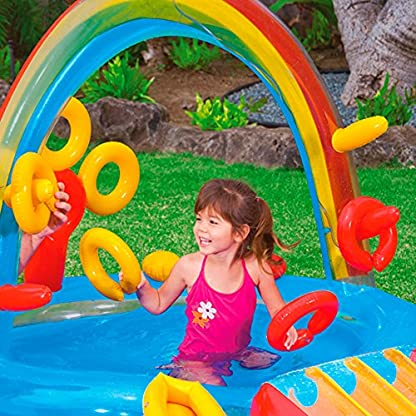 Intex 57453NP – Centro juegos hinchable arcoiris 297 x 193 x 135 cm, 206 y 175 litros