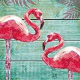 Servietten (2er Set / 40Stück) 3-lagig 33x33cm Sommer Muster (Summer Flamingos)
