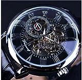 Reloj de pulsera mecánico estilo clásico 'Steampunk Bling' de Forsining, estilo con mecanismo visible, unisex, negro
