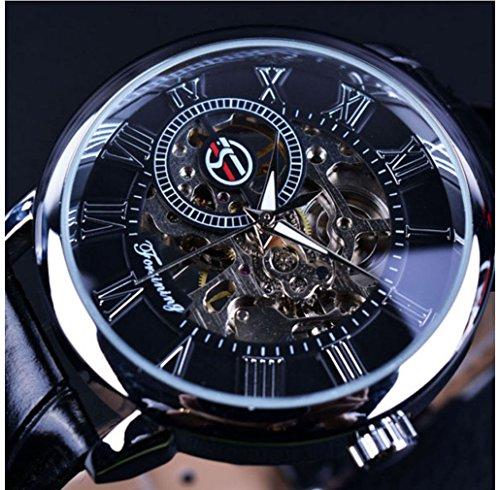 FORSINING Classic Steampunk Bling Mechanische Armbanduhr Hand-Wind Skeleton Unisex (Black)