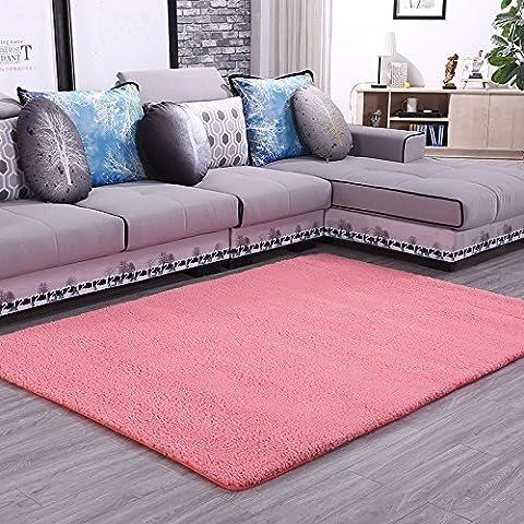 Spesso la lana di agnello tappeto di velluto camera da letto soggiorno tavolino da caffè e letto moderno minimalista riquadro flottante con piena divano tappeto custom ,2.0*3.0 m , rosa (quadrato)