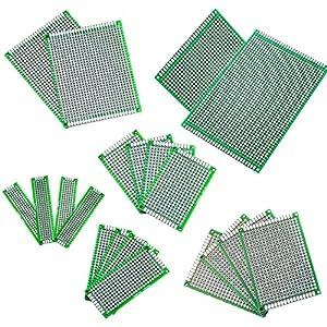 materiales de soldadura: IZOKEE 20 Piezas 6 Tamaños 2x8 3x7 4x6 5x7 7x9 9x15CM PCB Prototipo Placa Soldar...