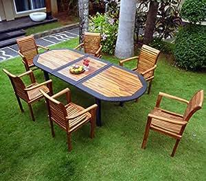 salon pour jardin en teck huilé et résine tressée 6 fauteuils