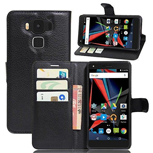 ECENCE Handy-Schutzhülle - Handytasche für Archos Diamond 2 Plus Schwarz - Smarthone Case Cover stoßfest mit Kartenfach - Handycase mit Stand-Funktion 43020102