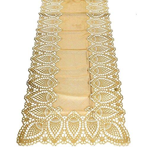 KERSTEN · WER-2005 Outdoor-Tischläufer Tischdecke abwischbar HD-Collection ' Lace Crochet ' 150cm...