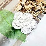 20pcs 3 Capas Hechas A Mano Apliques De Flores De Ganchillo De Costura Artesanal - Blanco