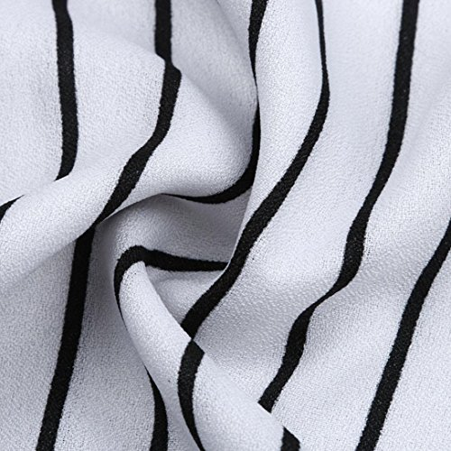 Chemisier Longra Femmes Off-Shoulder Rayé - stripped frill Manche courte Tops Chemise Blanc