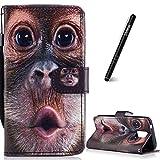 Slynmax Leder Schutzhülle Kompatibel mit Samsung Galaxy S5 Tasche Flip Case Schutzhülle mit von Handyhüllen Ledertasche Wallet Brieftasche Tasche Stand für Samsung Galaxy S5,Lustiger Orang-Utan