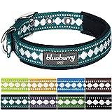 Blueberry Pet Halsbänder für Hunde Klassisches Einfarbige 2 cm M Neopren Reflektor Sicherheitshundehalsband in Petrol mit Jacquardmuster, Passender Hundegeschirr & Hundeleinen erhältlich separate