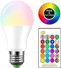 ONEVER 10W RGBW Cambiare colore del LED E27 Atmosfera di illuminazione a LED in modalit¨¤ Fade Lampada Flash Strobe Bar KTV luci decorative RGB + bianco freddo