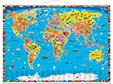 Illustrierte politische Weltkarte: mit Metall-Beleistung