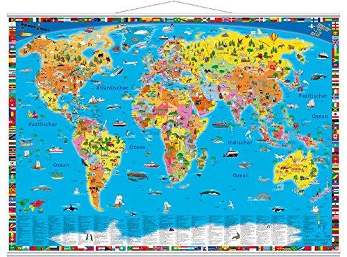 Illustrierte politische Weltkarte: mit Metall-Beleistung - Kindern Mit Planung