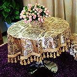 LSJT Ice Flower Velvet Hot Gold europäischen Runde tischdecke Quadrat tischdecke tischdecke Stuhl Kissen stuhlabdeckung Gold Hot Blume Runde tischdecke (größe : D200cm)