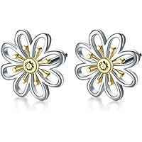 Gänseblümchen Ohrringe Sterling Silber vergoldet Kleine Gänseblümchen Flower Leverback Dangle Ohrringe Schmuck Creolen…