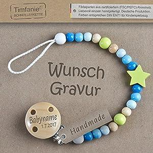 Timfanie® Schnullerkette mit Gravur für Jungen | blau-lemon