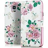 Saxonia Tasche Samsung Galaxy S5 / S5 Neo Hülle Flip Case Schutzhülle Handytasche mit Kartenfach Motiv Weiß Blumen Rosen