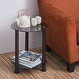Fitueyes vetro tavolo tavolino da caffè 38,5x50cm nero DT203801GT