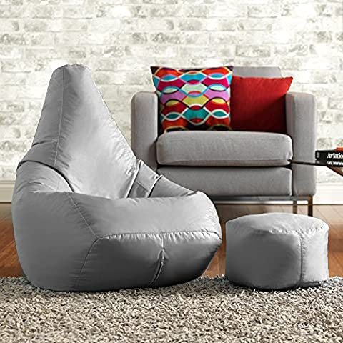 Hi-BagZ® Bean Bag Chair & Matching Footstool Combo - 100% Easy Care High Back Bean Bags GREY