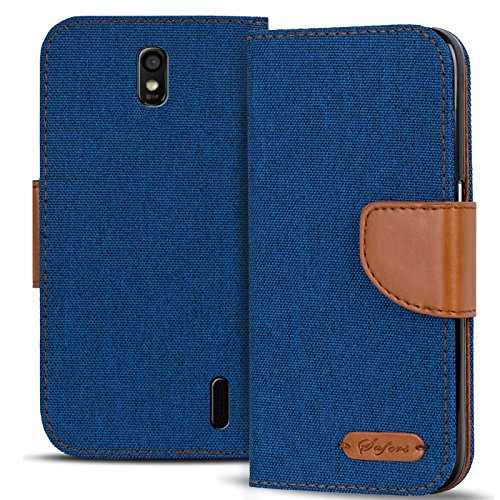 Verco Ascend Y625 Hülle, Schutzhülle für Huawei Y625 Tasche Denim Textil Book Case Flip Case - Klapphülle Blau