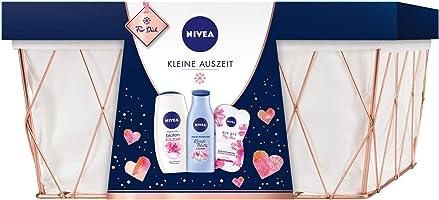 NIVEA Kleine Auszeit Geschenkset, Pflegeset im Badezimmerkorb mit Pflegedusche, Gesichtsmaske, Body Lotion, schönes...