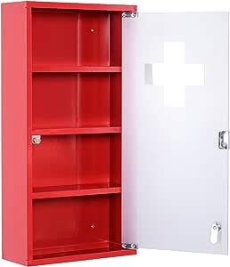 homcom Cassetta Porta Medicine Armadietto Medicinali 4 Livelli Porta in Vetro 60×30×12cm Rosso