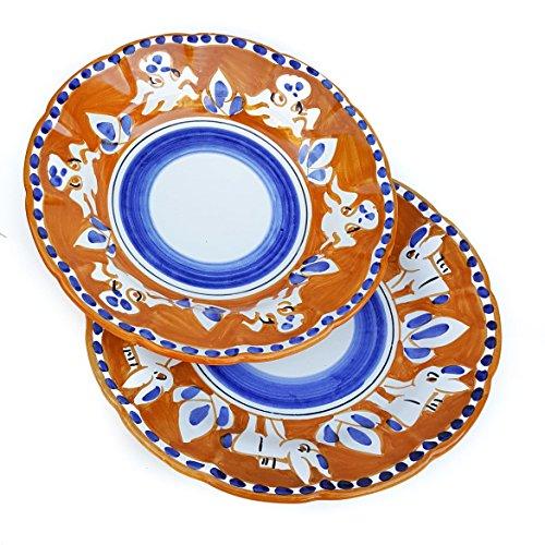 L'eclisse ceramiche artistiche Coppia Piatti Vietri con Decoro Animale Casuale in colorazione Arancio e Blu