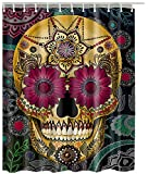 Retro Flowers Skull Custom Bath Curtains Waterproof Polyester Shower Curtain 180cm X 200cm