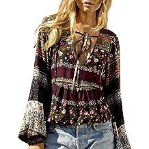 8a3d4cb0c94bf9 LAEMILIA Damen Sommer Bohemian Bluse Langarm Tief V-Ausschnitt Lässige  Tunika Tops Trompetenärmel Floral Print