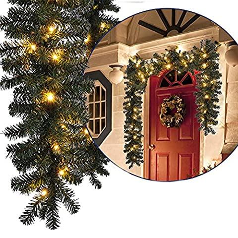 LQZ(TM) Guirlande Lumineuse de Noël Décoration Ornement Branche de Sapin Artificiel Imitation sapin 2.7m avec 100 LED Etanche Usage Iintérieur et Extérieur (Blanc)