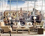 Yosot Individuelle Fototapeten 3D Stereo Large Murals Moderne False Windows Wohnzimmer Schlafsofa Schlafzimmer New York Tapete-250Cmx175Cm
