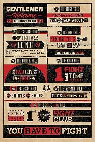 Fight Club - Rules - Regeln - Sport Kampf Fight Poster Plakat Druck - Grösse 61x91,5 cm + 1 Ü-Poster der Grösse