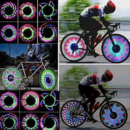 Kompassswc Fahrrad Wasserdicht 32-LEDs Speichenlicht 32 Mustern MTB Radfahren Felge Lichter Fahrradlichter Reifen Beleuchtung Lampe (20 Zoll Felgen Und Reifen-pakete)