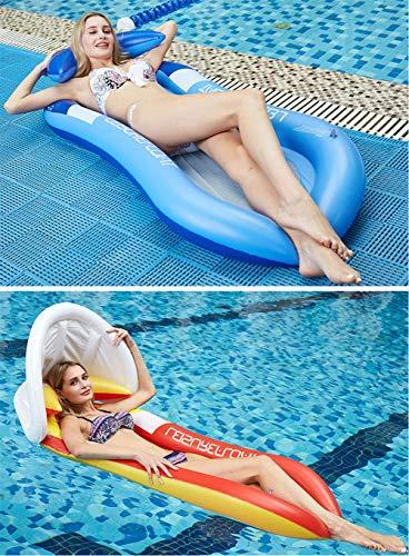 Cozywind Luftmatratze Wasser Pool Hängematte Aufblasbare Wasserhängematte Erwachsene mit Sonnenverdeck Matratzen Wasseriege Klappbare Pool Schwimmende Bett mit Kopfteil (160*90cm) (Blau)