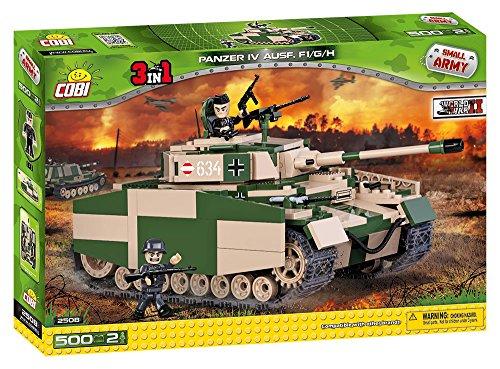 COBI 2508A Small Army - PanzerIV Ausf F1/G/H (500 Pcs) Panzer IV Ausf F1  Construction Toy, Green, Beige