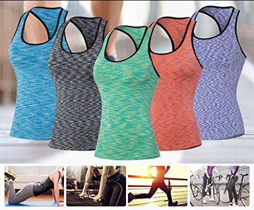 qutool Damen Sport Laufen Vest Ärmellos Tank Top Yoga Fitness Tight Training Tops Blau