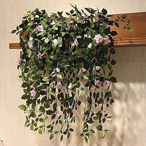 ShiQi Flor Artificial Rattan Salón de 50cm de la pared cerca de madera Rosas 3 manojo de color rosa para Bodas Decoración para banquetes Festival