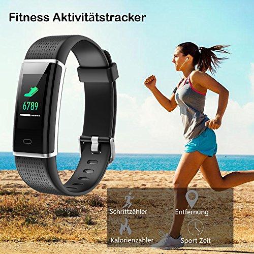 Willful Fitness Armband mit Pulsmesser,Wasserdicht IP68 Fitness Tracker Farbbildschirm Aktivitätstracker Pulsuhren Schrittzähler Uhr Smartwatch für Damen Herren - 4
