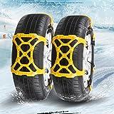 Chaînes à Neige de Voiture Anti-dérapant Adaptable Chaînes d'adhérence Chains pour pneus de largeur de 165 mm - 265 mm --- faciles à installer et résistantes aux basses températures (Jaune)