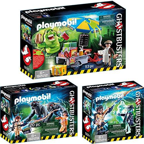PLAYMOBIL® Ghostbusters™ 3er Set 9222 9223 9224 Slimer mit Hot Dog Stand + Venkman und Terror Dogs + Spengler und Geist (Ghostbuster Slimer)