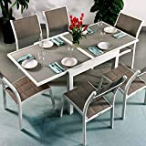 Ruby Tisch und 6 Lea Stühle - WEIß & CHAMPAGNERFARBEN | Ausziehbarer 180cm Esstisch mit passenden Stühlen