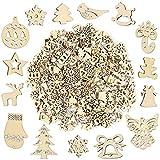 Pllieay Lot de 250 petites tranches de bois faites à la main pour décorations de Noël, loisirs créatifs et fabrication de cartes...