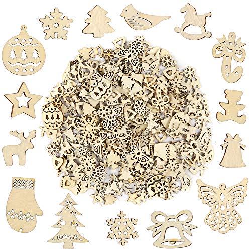 Pllieay, 250 pezzi di varie forme, piccole fette di legno fatte a mano, serie natalizie, ornamenti per decorazioni natalizie, fai da te per feste e biglietti.