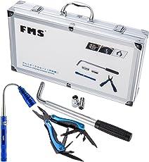 FMS Kfz Notfallset Auto Werkzeugkoffer, Ausziehbarer Radmuttern-Schlüssel und 2 Steckschlüsseleinsatz (17/19/21/23mm), Multi-Tool Zangen, Flexible magnetische LED Teleskop Taschenlampe, Aluminium Werkzeugkoffer Silber